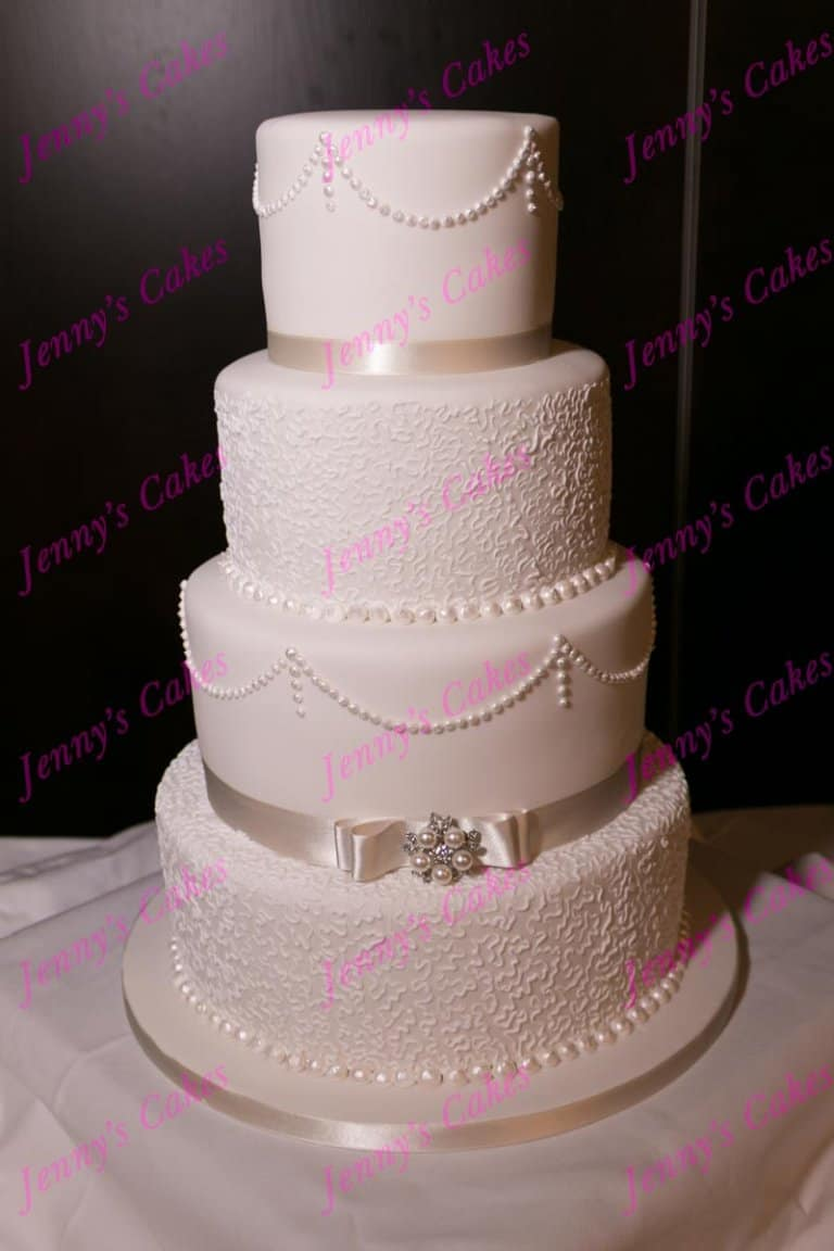 Vintage Wedding Cake with Dior Bow and Piped Pearls