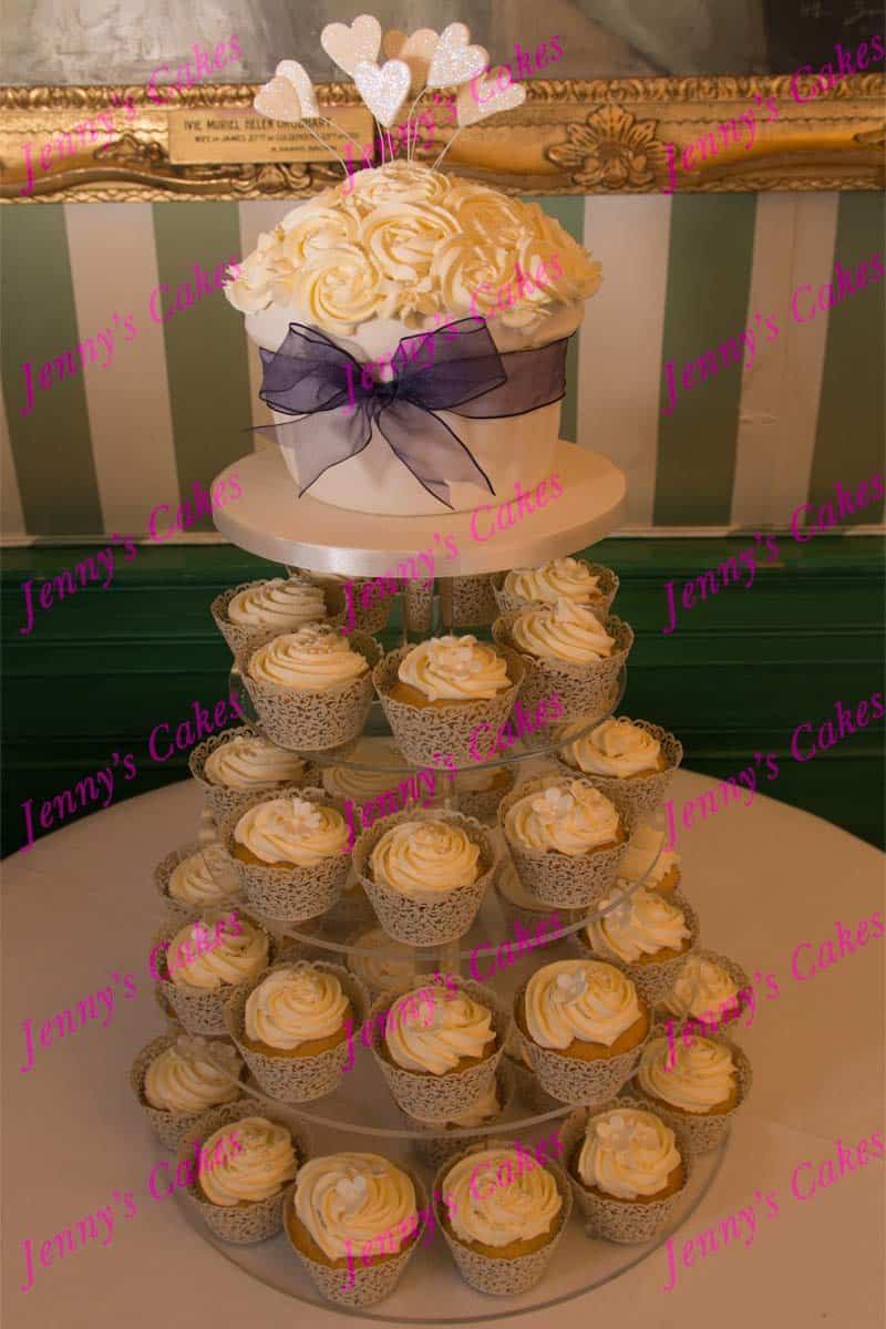 Cupcake Tower with butter-Cream Swirls