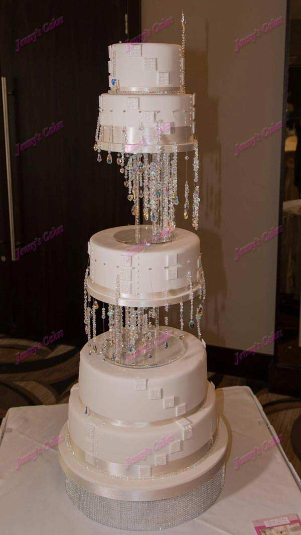 Designer Wedding Cake with Crystal Stands