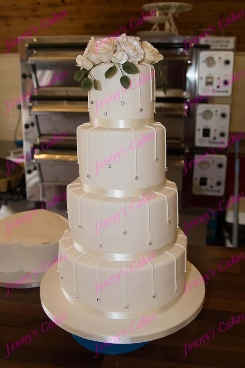 Tall Stacked Cake with Piped Drop Diamante studs and sugar-crafted Rose Topper