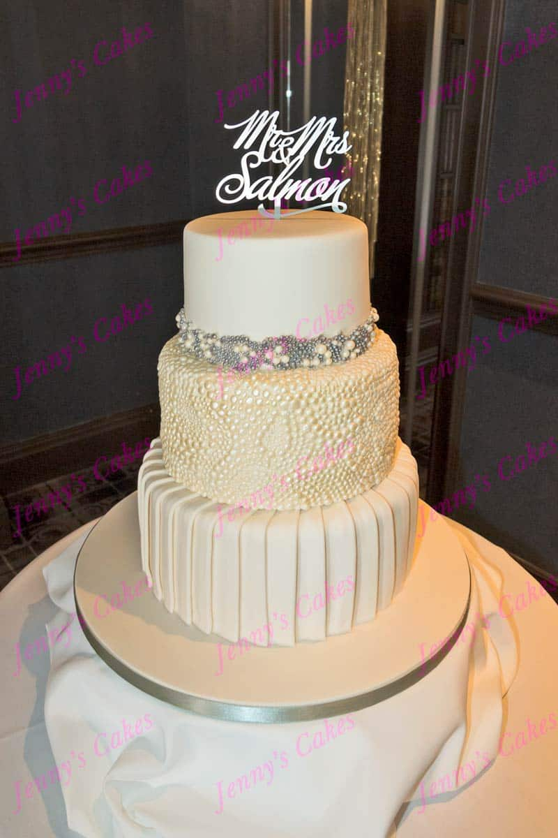 Unusual Wedding Cake with Sugar Pleats and Pearls