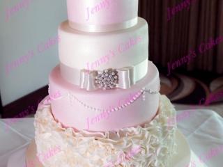 Blush Pink Wedding Cake with Ruffles