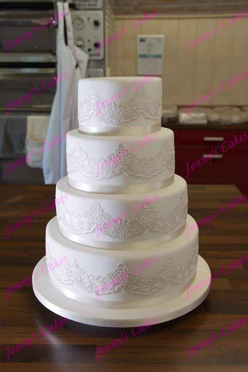 Monochrome Wedding Cake with Pearlised Lace Swags