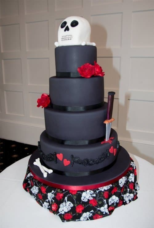Unique Skull and Crossbones Wedding Cake