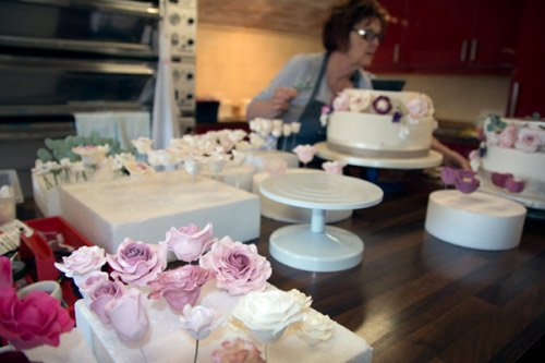 Jenny creating the sugar flowers for a wedding cake