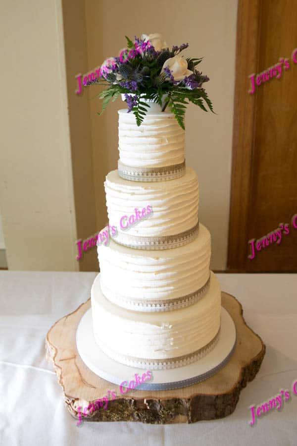 ridged butter cream fresh flowers rustic wedding cakes