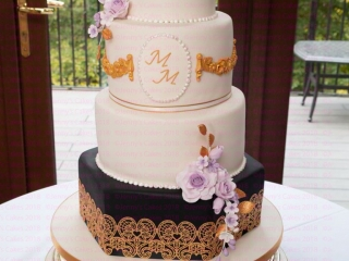Wedding Cake with Gold Lace and Swags