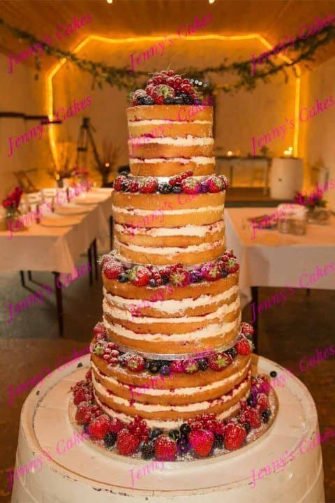 Naked Wedding Cake- Four Tier Stacked Design