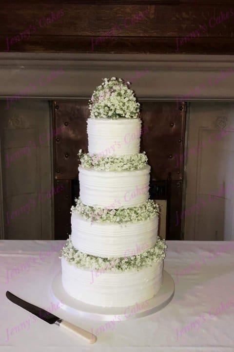 Rustic Wedding cake with Ridged Icing finish