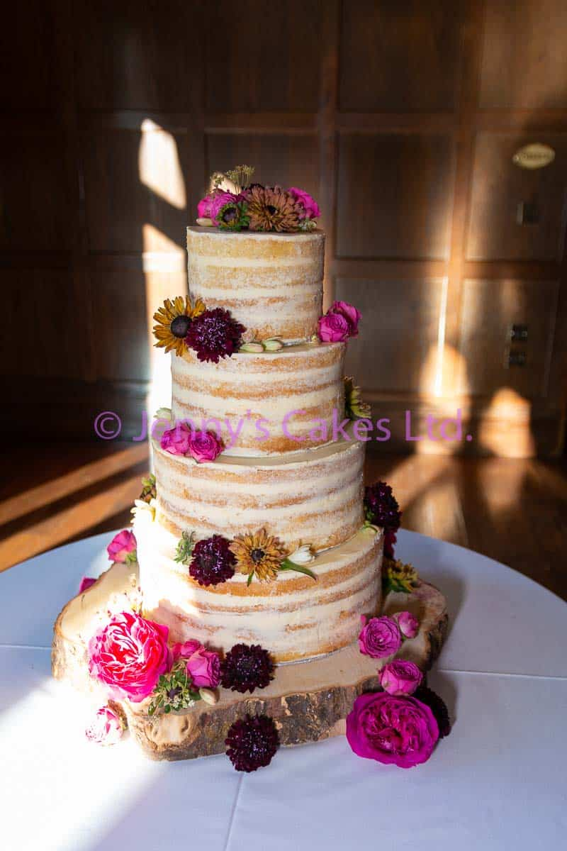 Four tier Semi Naked Wedding Cake