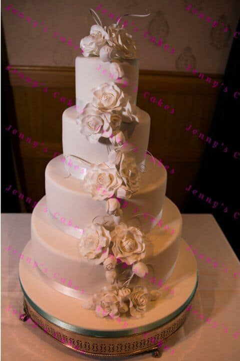 Designer Wedding Cake with White rose Cascade
