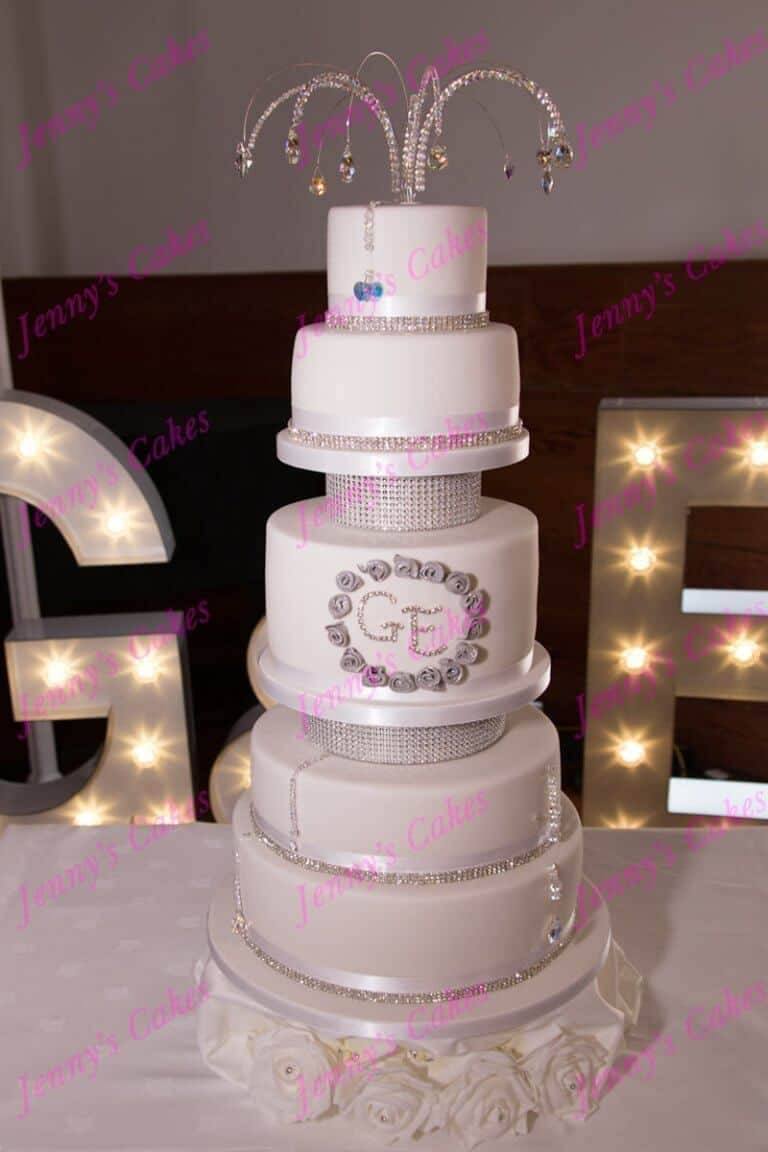 Designer Wedding Cake with Crystal Topper and Initials