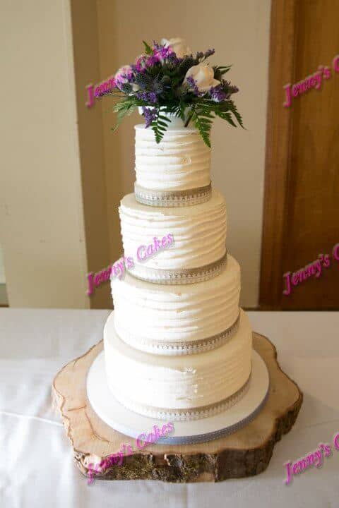 Four Tier Wedding Cake with Ridged Butter-Cream