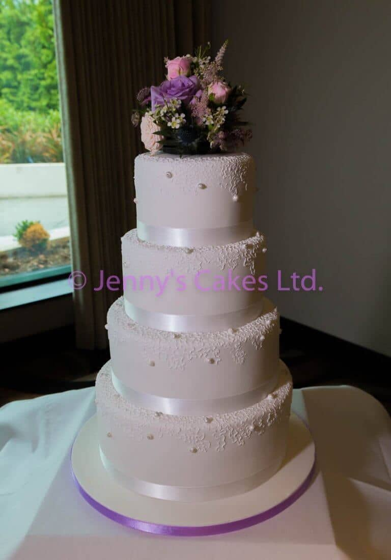 Wedding Cake with Lace and Pearl texture