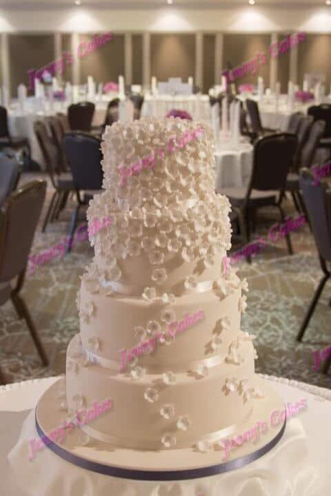 Wedding Cake with Sugar Blossom Cascade