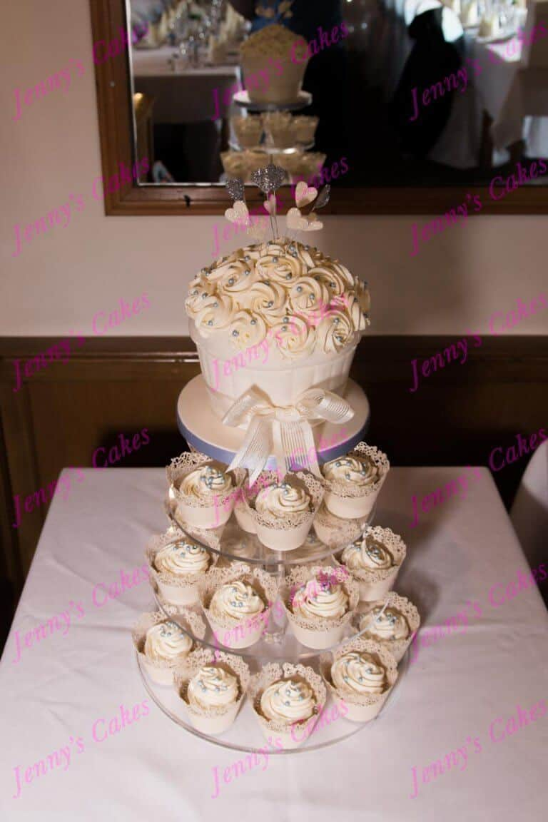 Wedding Cake with Giant Cupcake topper