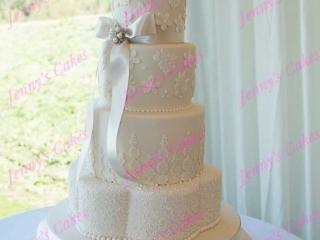 Designer Wedding cake with Lace detail
