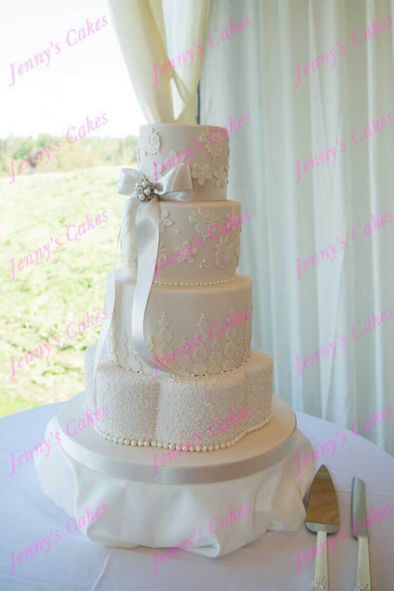 Designer Wedding cake with Lace detail