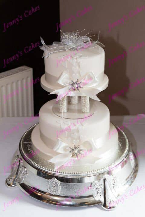 Delicate Tall Two tier vintage Style Wedding Cake