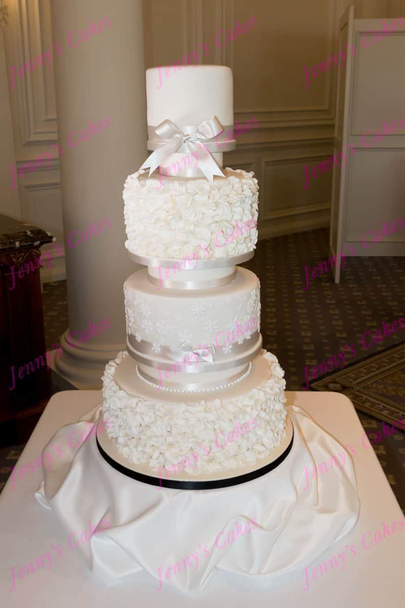 Four Tier Ruffles and Blossom Wedding Cake