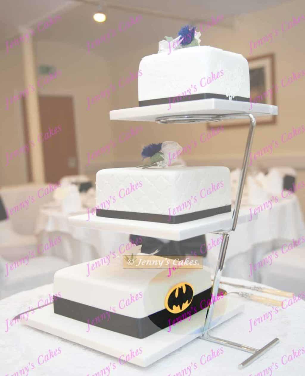 Square Wedding Cake with Batman Logo